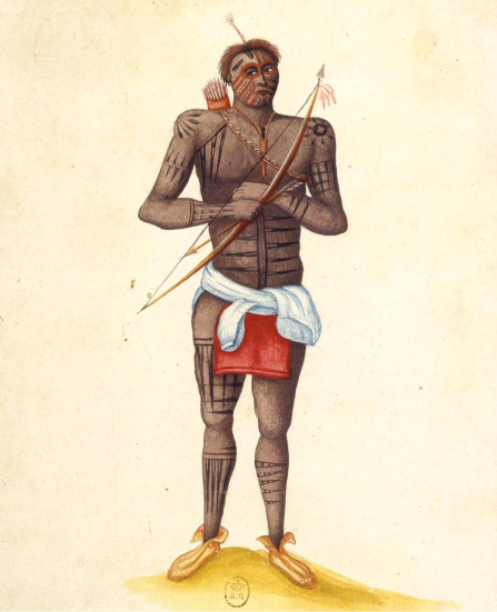 Cette aquarelle représente Coulipa, un guerrier renard